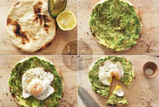 卵とアボカドのピザ